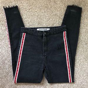 Zara Trafaluc Denim jeans w red white side stripe